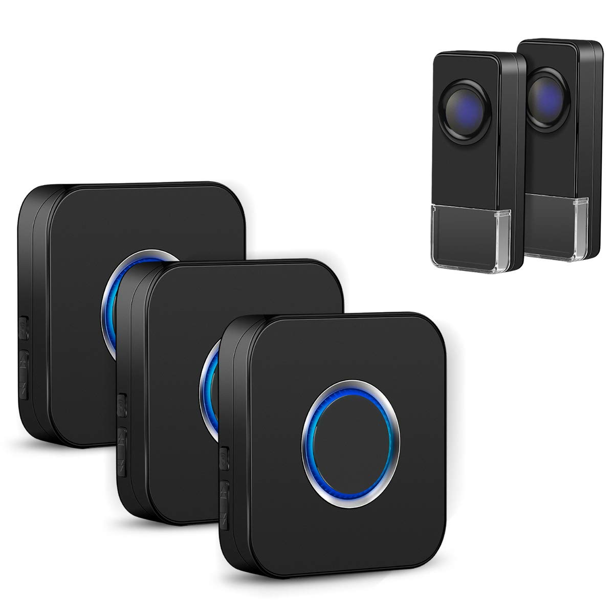 Coolqiya Doorbell Kit Wireless Door Bell Chimes with 3 Plugin Receivers and 2 Remote Waterproof Door Buttons, No Battery Required for Receivers, 52 Ringtones, Black