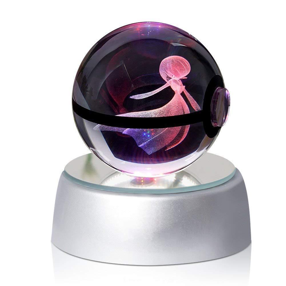 EFGS 3D Crystal Ball LED Veilleuses Plusieurs Couleurs Changent Automatiquement Le Cadeau De Noë l des Enfants d'anniversaire (Gardevoir)