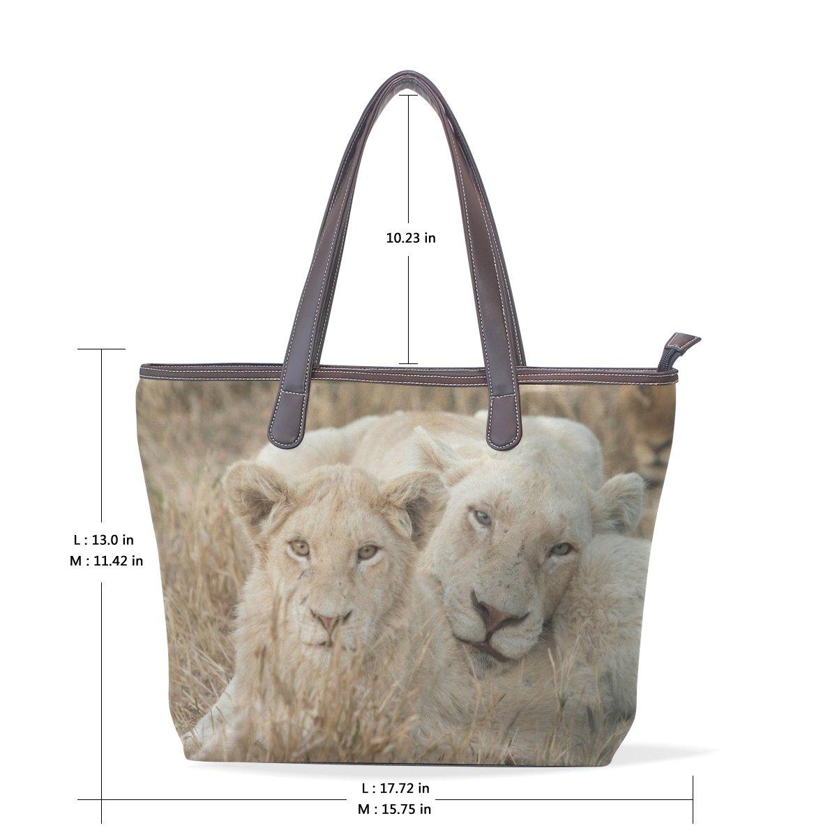 SCDS Lion Gaze PU Leather Lady Handbag Tote Bag Zipper Shoulder Bag