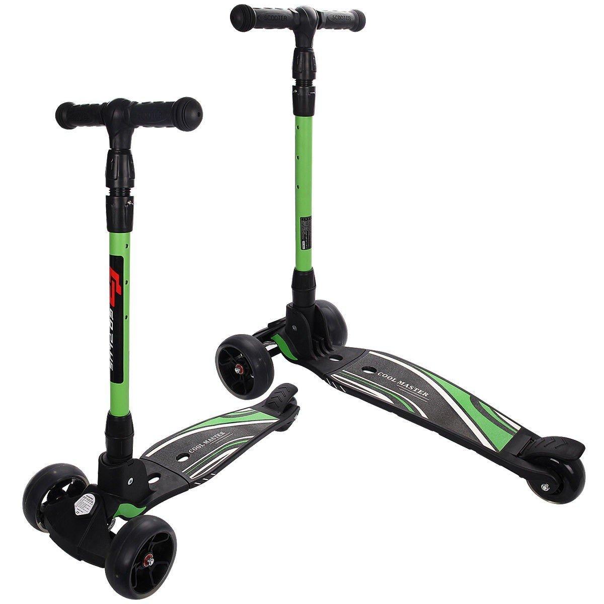 Folding Aluminum Adjustable Height LED 3 Wheels T-Bar Kick Scooter - Green
