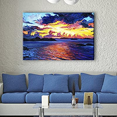 Wonderful Work of Art, Oil Painting Style Colorful Seascape, Classic Artwork