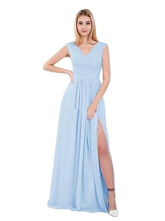 c3905e03e12c KKarine Women's V-Neck Floor Length Chiffon Bridesmaid Dress Long Slit  Formal Evening Dress for