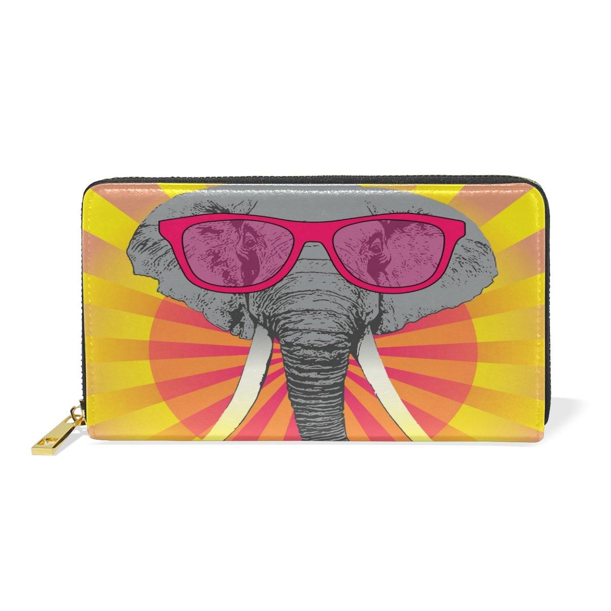 Womens Zip Purse Long Glasses Elephant Genuine Clutch Wallets Leather Handbags