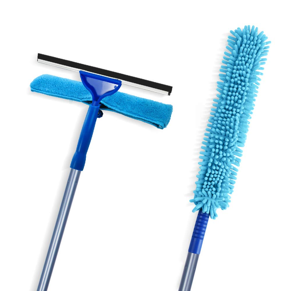 Masthome 2 in 1 Window Squeegee & Microfiber Scrubber High Reach Duster with Branch Pole for Cleaning Car Window