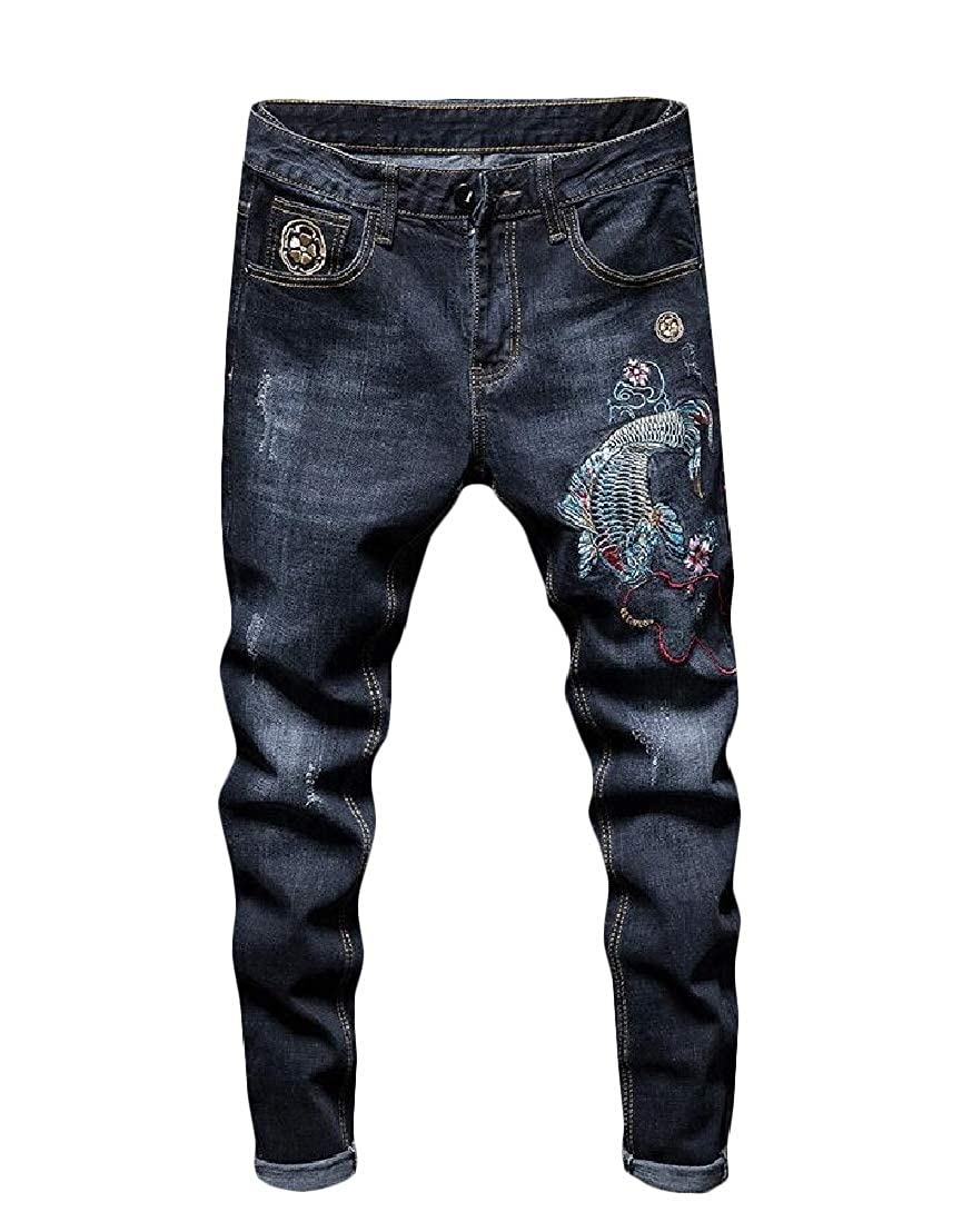 Wofupowga Men Embroidery Stretchy Trousers Denim Jeans Pants 1 L