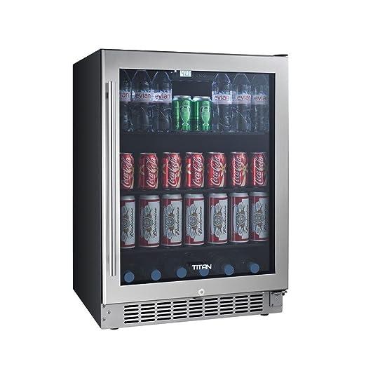 Titan 24 Inch 142 Cans Built In Beverage Cooler Adjustable Glass Shelves Seamless Stainless Steel Door Temp Memory Function Door Left Open