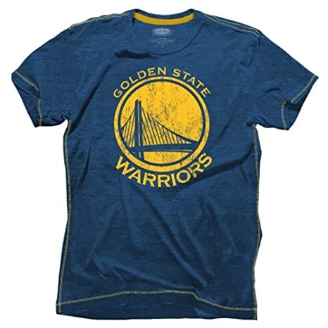 Majestic Athletic Golden State Warriors Blue Outline Contrast Stitch  Tri-Blend T-shirt Small da6cfd71e