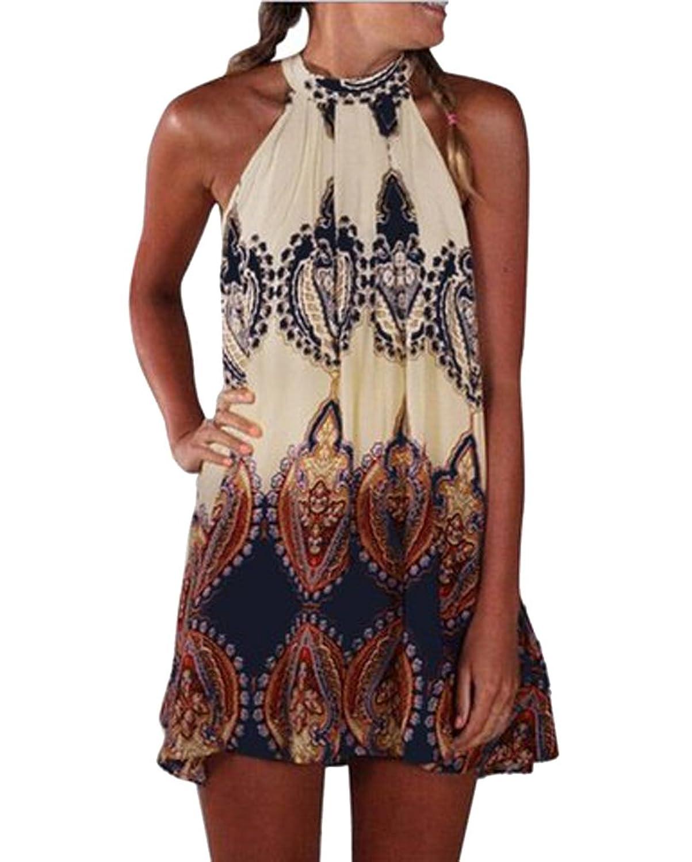 AIYUE Damen Sommer Boho Rundhalsausschnitt Neckholder ärmellos modisch Minikleid Frauen Partykleid Abendkleid Kurz Loses Strandkleid