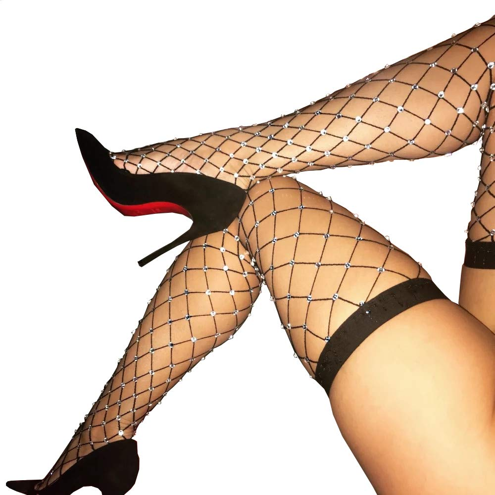 Women's Thigh High Stockings Rhinestone Fishnet Elastic Stockings Big Fish Net Tights Pantyhose (Black)