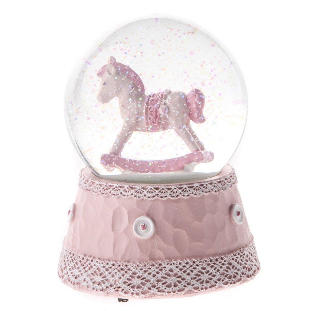 Gisela Graham - Palla di vetro con neve e motivo a cavallo a dondolo, per bimba