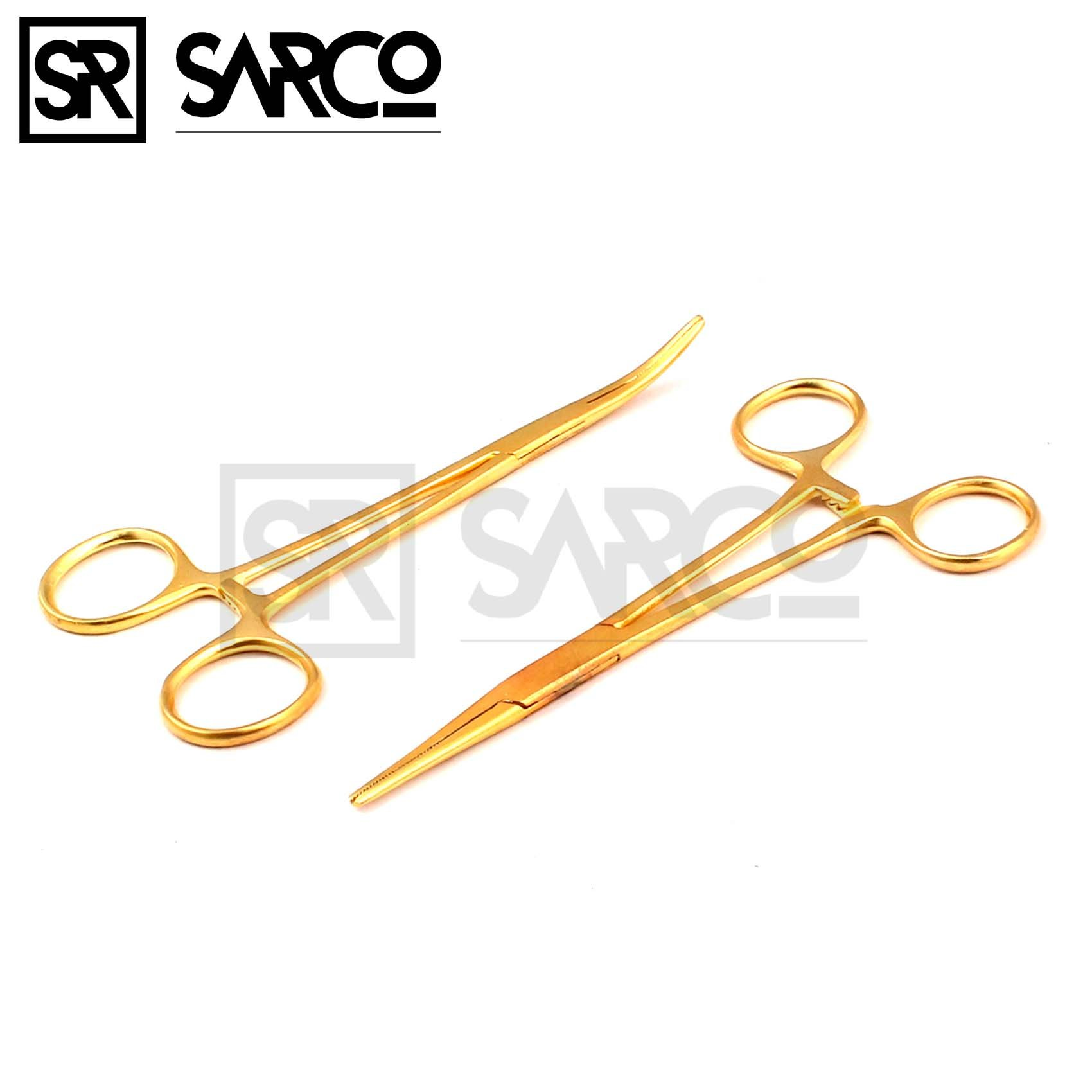 Sarco Set of 2 Gold Color Mosquito Hemostat Forceps 5'' Straight & Curved Stainless Steel