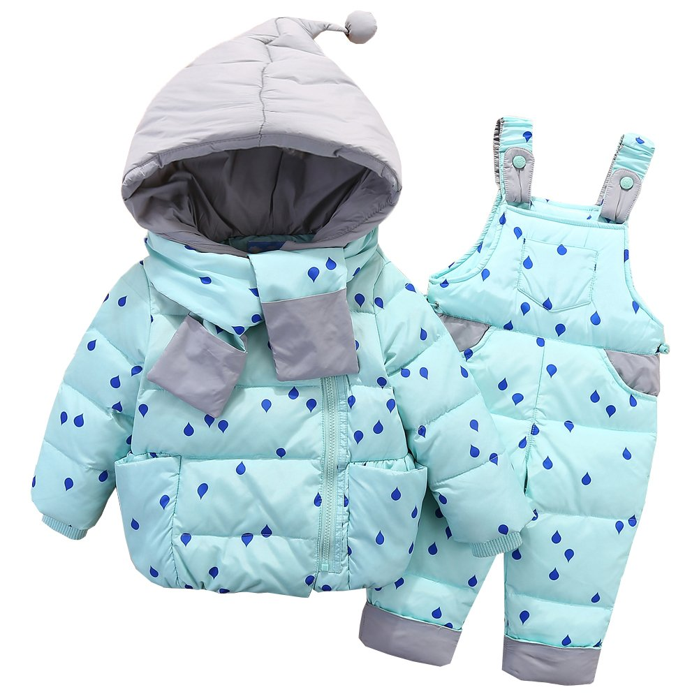 JINZFJG Kids Winter Snowsuit Dot Puffer Jacket Hoodie Coat Down Snowpants Bib Down Coat 2 Piece Outfit JIN-F2799-UN