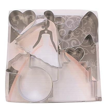 Amazon.com: R&M International 1845 Bridal Cookie Cutters, Wedding ...