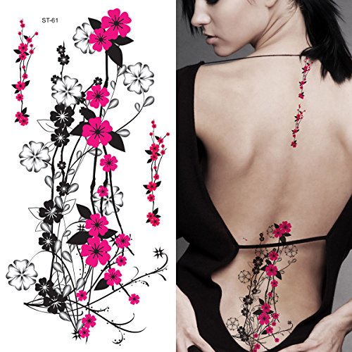Make Your Own Sexy Costumes (Supperb Flower & Autumn Leaves Temporary Tattoos Gorgeous Color Tattoos (Hot Pink Plum Flowers))