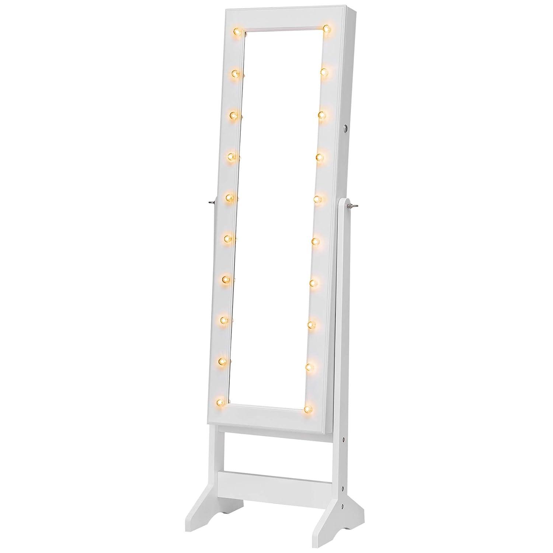 SONGMICS Armadietto Portagioie con Luci LED Richiudibile Autoportante Ampia Capacità Specchio a Figura Intera Luci Marquee Bianco JBC81WT