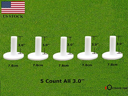 FINGER TEN Golf Rubber Tees Driving Range Value 5 Pack, Mixed Size or 5 Same Size for Practice Mat (5 Pack All (Practice Driving Range)