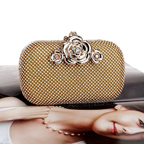 Golden is The Diamonds Banquet of Ladies' Dress Full Dress Luxurious Banquet Evening Golden Dinner Handbag aBBqAxCH1w