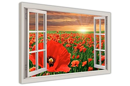 RED POPPY FIELD WINDOW EFFECT FRAMED PRINTS CANVAS PICTURES WALL ART ...