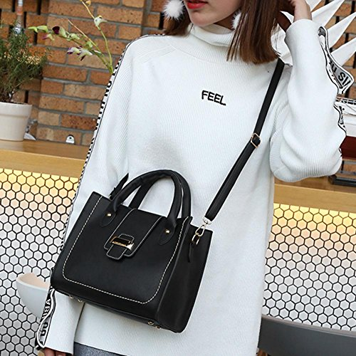 Handbag Women widewing Leather PU Bag Black Messenger Crossbody Tote Korean Sling x51qYng5
