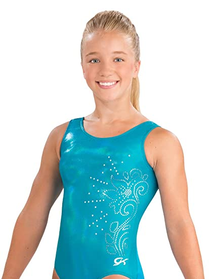 ff961a4d6f29 Amazon.com   GK Flower Power Gymnastics Leotard (Blue Sparkle ...