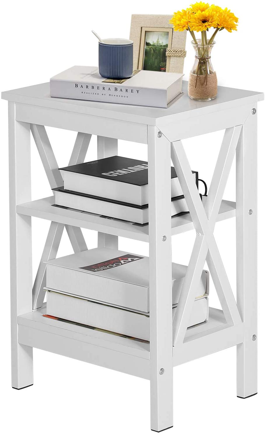 VECELO Modern Nightstands,Side/End/Coffee/Accent Table Storage Shelf X-Design Versatile Night Stand for Living Room Bedroom Furniture,Easy Assembly, White