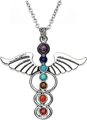 7 CHAKRA REIKI NATURAL QUARTZ CRYSTAL Gemstone Pendant Necklace Healing Bead