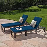 Great Deal Furniture Joyce Outdoor Multibrown Wicker Chaise Lounge with Blue Water Resistant Cushion (Set of 2)