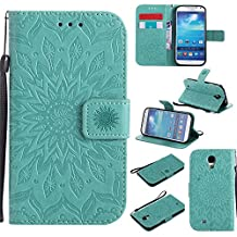 S4 Wallet Case,IVY [Sun Flower] Galaxy S4 PU Leather Cover Wallet Phone Case For Samsung I9500 Galaxy S4 - Baby Green