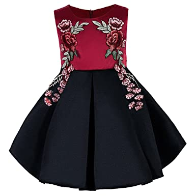 Amazon Ifans Girls Embroidery Flower Princess Red Black Wedding
