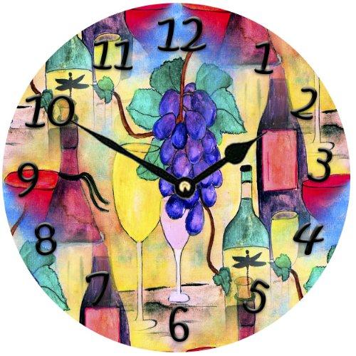 Grape Escape Wine Bar Wall Clock - wine wall art decoratons