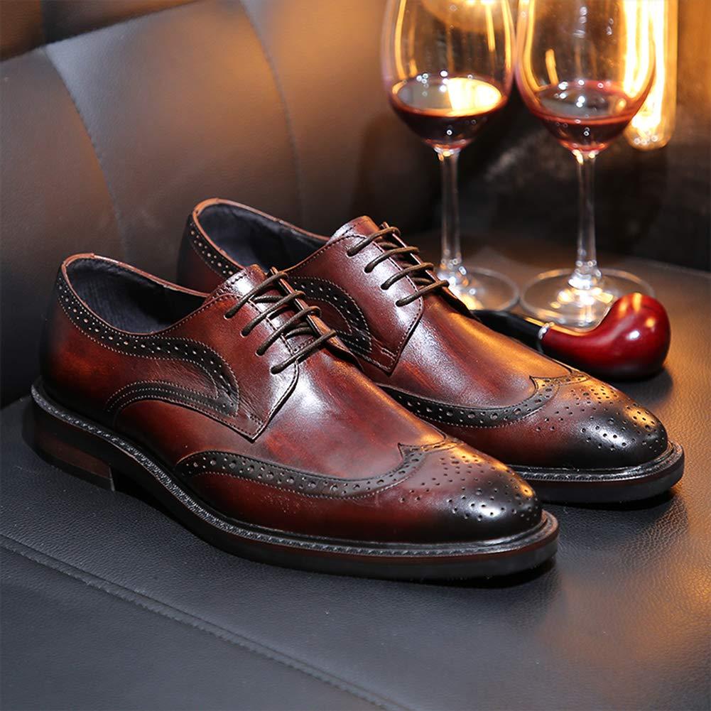 LEFT&RIGHT Herren Uniform Brogue Schuhe, Schuhe, Schuhe, Leder Square Toe Leder Schnürschuhe Kleid Schuhe - 75c56c