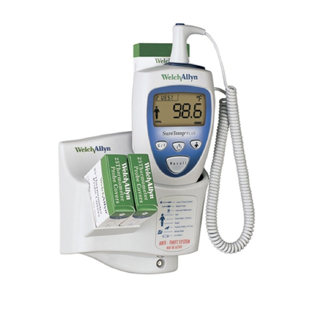 Welch Allyn 01692-300 SureTemp Plus Model 692 Electronic Thermometer, One Per Room, Wall Mount, 9' Oral Probe with Oral Probe Well