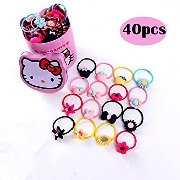 acf58306c 40Pcs Hello Kitty Children Hair Rope Ribbon Boutique Kids Hair Accessories  Christmas Gift For Babies Teens