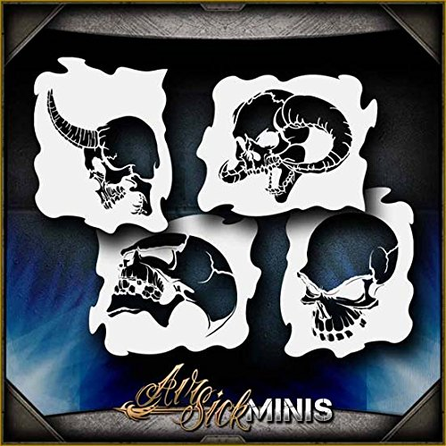 Mini Skulls 2 Set AirSick Airbrush Stencil Template