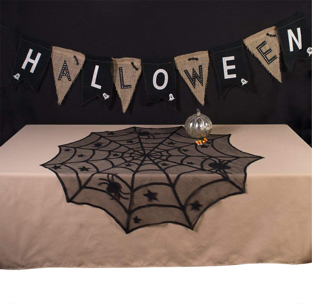 JTS Halloween Tablecloths, Lace Table Topper, Halloween Spider Web Tablecloth for Halloween Table Decorations