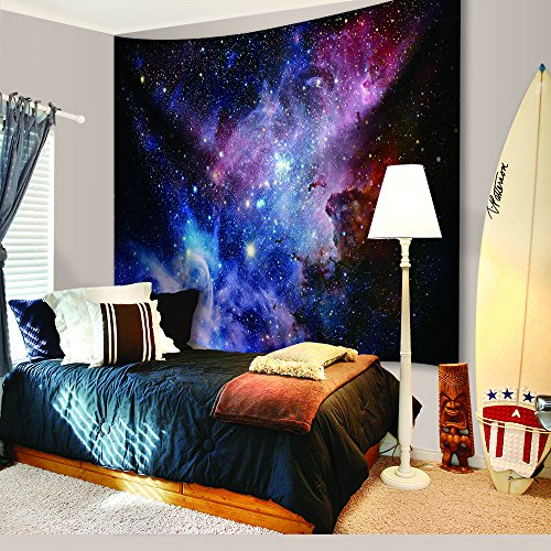 Space Decor Tapestry Large Size, Galaxy Stars in Space Celestial Astronomic Planets in the Universe Milky Way Print, Wall Hanging for Bedroom Living Room Dorm, 80L X 60W Inches, Navy and Purple by DENGYUE (Image #2)