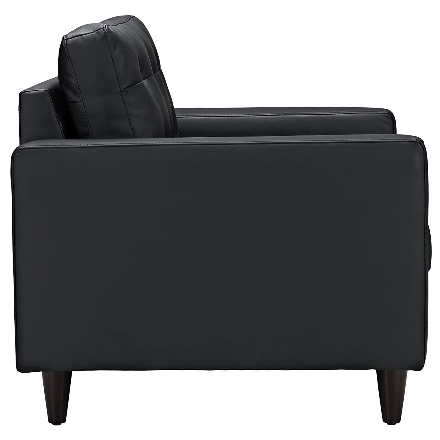Modway EEI-1282-BLK Empress Mid-Century Modern Upholstered Leather Two Armchair Set Black