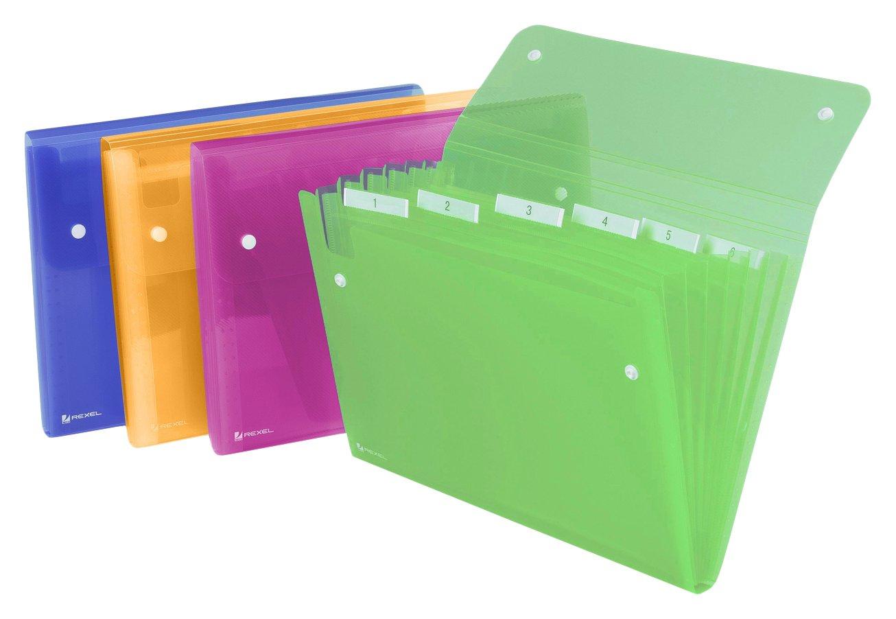 Rexel Ice Archiviatore a Soffietto A4, Chiusura con Bottone, 6 Tasche, Colori Assortiti ACCO Brands 2102032