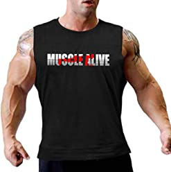81d055ccc47b8 Mens Essential Muscle Sleeveless T-Shirt with Crew Neck for Bodybuilding  Tank Tops Shirts Cotton