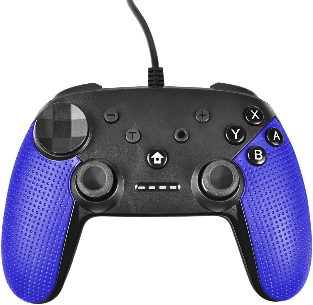 Powtree USB Wired Pro Controller for Nintendo Switch Gyro Axis Motion Controls Vibration Sense Gamepad Compatible with PS3 Windows(10/8.1/8/ 7 / XP) PC(Xinput and Dinput) Android-(Blue)