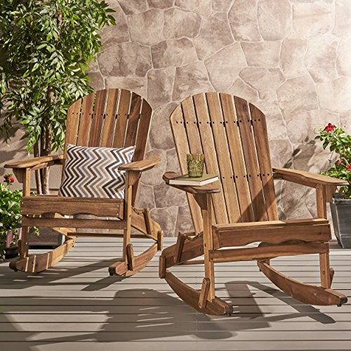 Chair Rocking Wood Patio (Great Deal Furniture Estelle Outdoor Natural Finish Acacia Wood Adirondack Rocking Chairs (Set of 2))