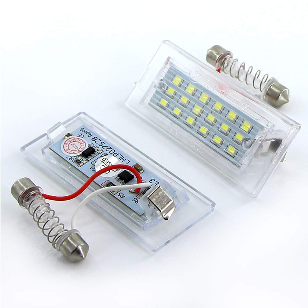 MuChangZi 2pcs Lampe Blanche de Plaque dimmatriculation Blanche de num/éro de Canbus LED 18 SMD 3528 pour B//MW E53 X5 1999-2003 E83 X3 2004-2009 exempte derreur