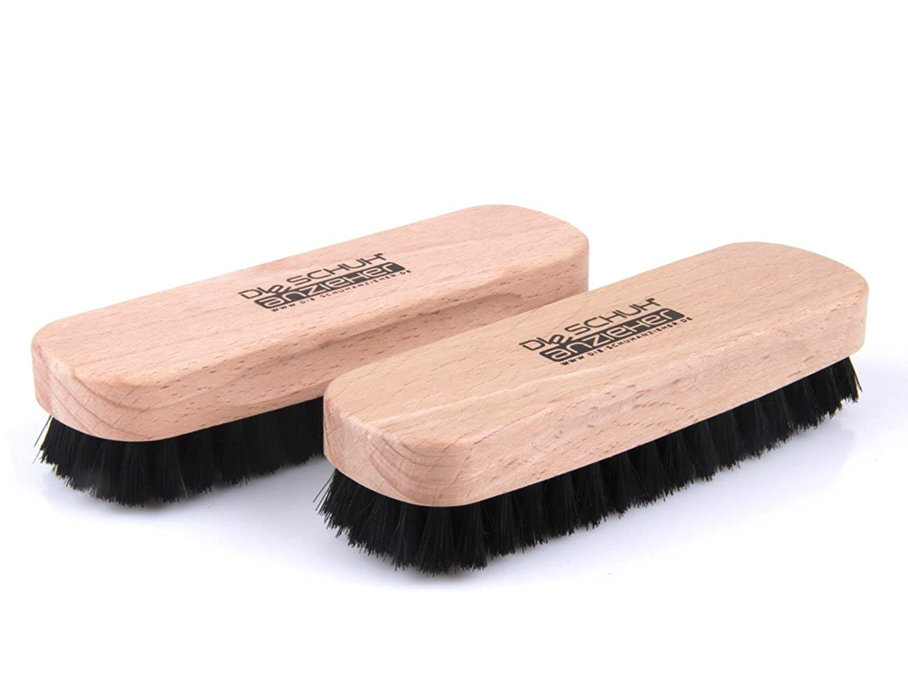 2 Pieces Set – Beechwood Shoe Brush with natural Bristles – for Cleaning and Polishing z2345