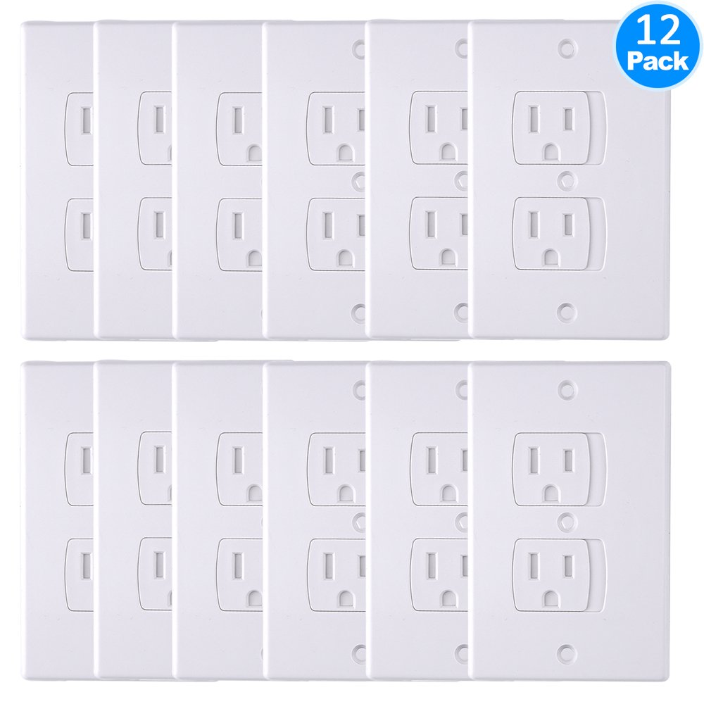 AUSTOR Electric Outlet Covers Baby Safety Self Closing Wall Socket Plugs Plate Alternate for Child Proofing, 12 Pack