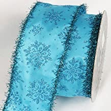 """Blue Glitter Tinsel Christmas Snowflakes Wired Craft Ribbon 3"""" x 20 Yards"""