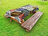 zaeshe3536658 Vintage Outdoor Tablecloth, Original Retro License Plates Personalized Creative Travel Collections Art, Decorative Washable Picnic Table Cloth, 58 X 120 Inches,
