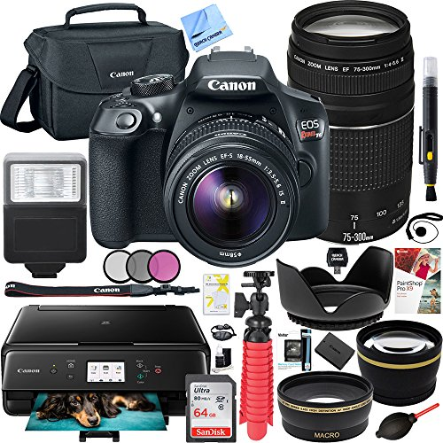 SLR Camera with 18-55mm IS II and 75-300mm III Lens Plus Canon PIXMA TS6120 Wireless All-in-One Compact Printer with Scanner & Copier (Black) and 64GB Accessories Bundle ()
