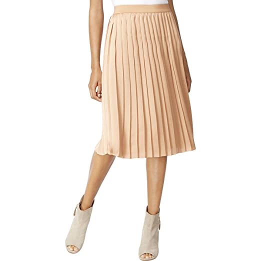 9237cd86db Maison Jules Womens Midi Silk Pleated Skirt Bronze XL at Amazon ...