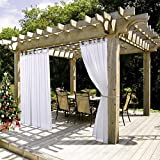 NICETOWN Outdoor Patio Curtains Waterproof - Tab Top Indoor Outdoor Sheer Voile Drape for Pergola with Rope Tieback (1 Piece, 54 x 96 inches in White): more info