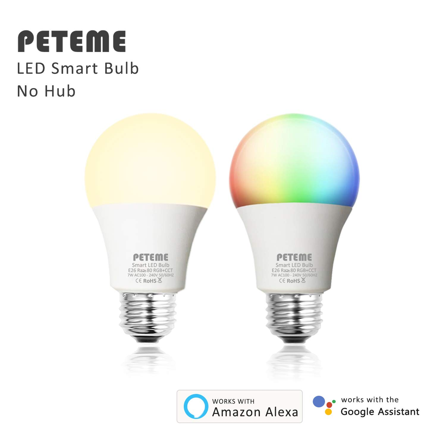 Smart LED Light Bulb E26 WiFi Multicolor Light Bulb Work with Siri,Alexa, Echo, Google Home and IFTTT (No Hub Required), Peteme A19 60W Equivalent RGB Color Changing Bulb (2 Pack) by Peteme (Image #7)